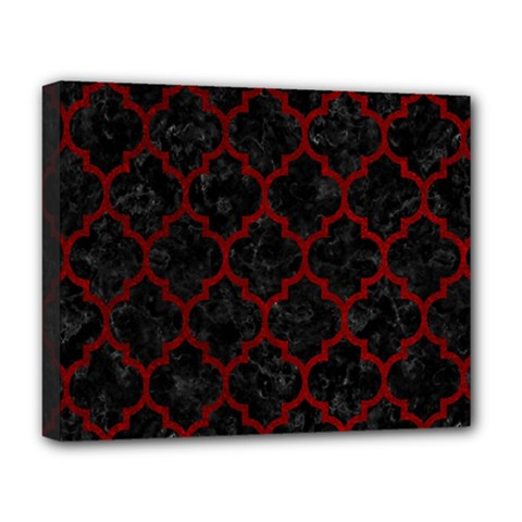 Tile1 Black Marble & Red Grunge (r) Deluxe Canvas 20  X 16   by trendistuff