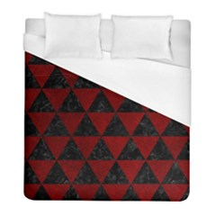Triangle3 Black Marble & Red Grunge Duvet Cover (full/ Double Size)