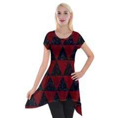 Triangle3 Black Marble & Red Grunge Short Sleeve Side Drop Tunic by trendistuff
