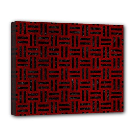 Woven1 Black Marble & Red Grunge Deluxe Canvas 20  X 16   by trendistuff