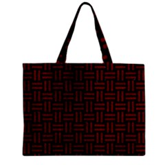 Woven1 Black Marble & Red Grunge (r) Zipper Mini Tote Bag by trendistuff