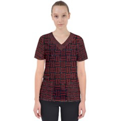 Woven1 Black Marble & Red Grunge (r) Scrub Top