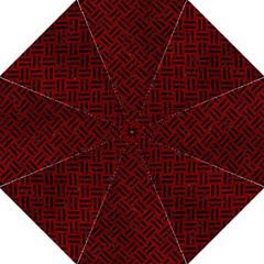 Woven2 Black Marble & Red Grunge Hook Handle Umbrellas (large) by trendistuff
