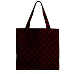Woven2 Black Marble & Red Grunge (r) Zipper Grocery Tote Bag