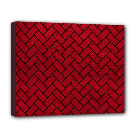 Brick2 Black Marble & Red Leather Deluxe Canvas 20  X 16   by trendistuff
