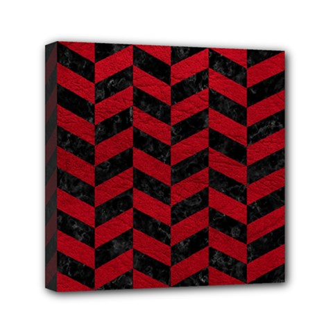 Chevron1 Black Marble & Red Leather Mini Canvas 6  X 6  by trendistuff