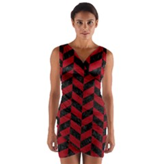 Chevron1 Black Marble & Red Leather Wrap Front Bodycon Dress