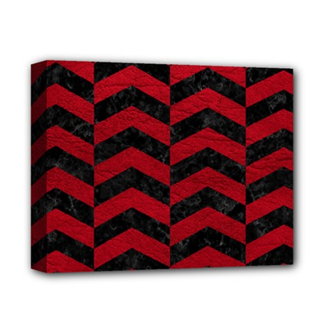 Chevron2 Black Marble & Red Leather Deluxe Canvas 14  X 11  by trendistuff