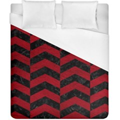 Chevron2 Black Marble & Red Leather Duvet Cover (california King Size)