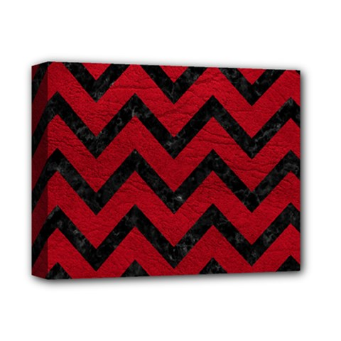 Chevron9 Black Marble & Red Leather Deluxe Canvas 14  X 11  by trendistuff