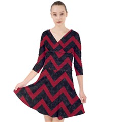 Chevron9 Black Marble & Red Leather (r) Quarter Sleeve Front Wrap Dress