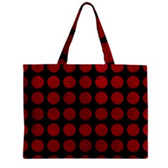 Circles1 Black Marble & Red Leather (r) Zipper Mini Tote Bag by trendistuff