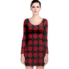 Circles1 Black Marble & Red Leather (r) Long Sleeve Velvet Bodycon Dress by trendistuff