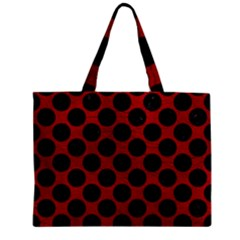 Circles2 Black Marble & Red Leather Zipper Mini Tote Bag by trendistuff