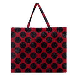 Circles2 Black Marble & Red Leather Zipper Large Tote Bag by trendistuff