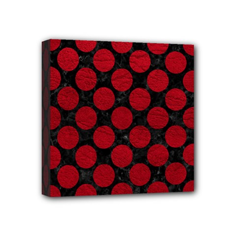 Circles2 Black Marble & Red Leather (r) Mini Canvas 4  X 4  by trendistuff