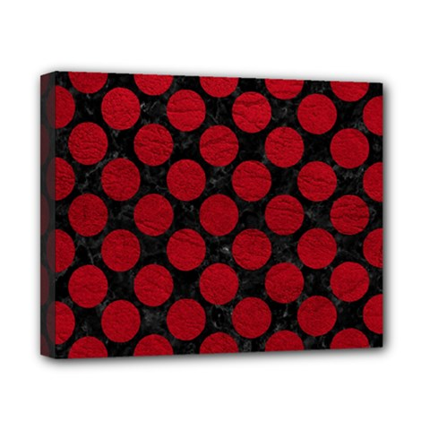 Circles2 Black Marble & Red Leather (r) Canvas 10  X 8  by trendistuff