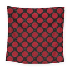 Circles2 Black Marble & Red Leather (r) Square Tapestry (large) by trendistuff