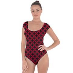 Circles3 Black Marble & Red Leather (r) Short Sleeve Leotard  by trendistuff