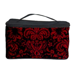 Damask2 Black Marble & Red Leather (r) Cosmetic Storage Case by trendistuff