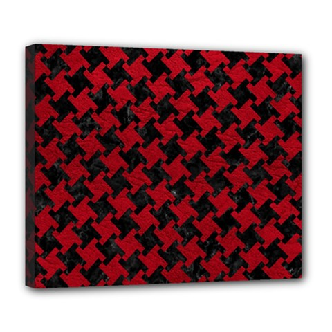 Houndstooth2 Black Marble & Red Leather Deluxe Canvas 24  X 20   by trendistuff