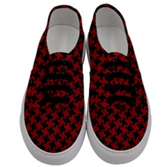 Houndstooth2 Black Marble & Red Leather Men s Classic Low Top Sneakers
