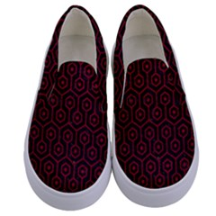 Hexagon1 Black Marble & Red Leather (r) Kids  Canvas Slip Ons