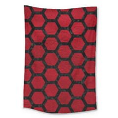 Hexagon2 Black Marble & Red Leather Large Tapestry by trendistuff