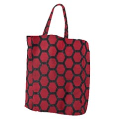 Hexagon2 Black Marble & Red Leather Giant Grocery Zipper Tote