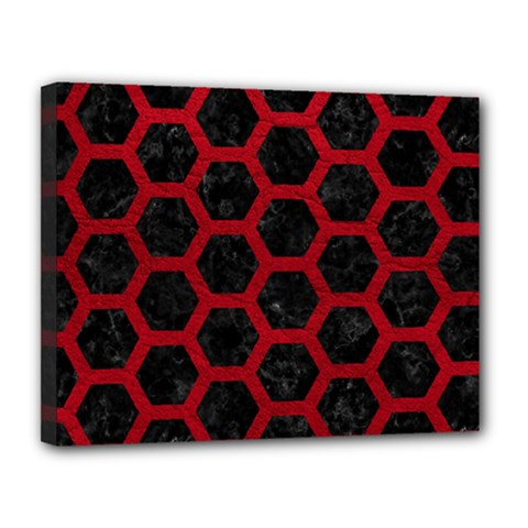 Hexagon2 Black Marble & Red Leather (r) Canvas 14  X 11  by trendistuff