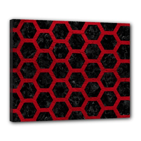 Hexagon2 Black Marble & Red Leather (r) Canvas 20  X 16  by trendistuff
