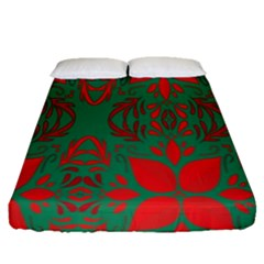 Christmas Background Fitted Sheet (queen Size) by Onesevenart
