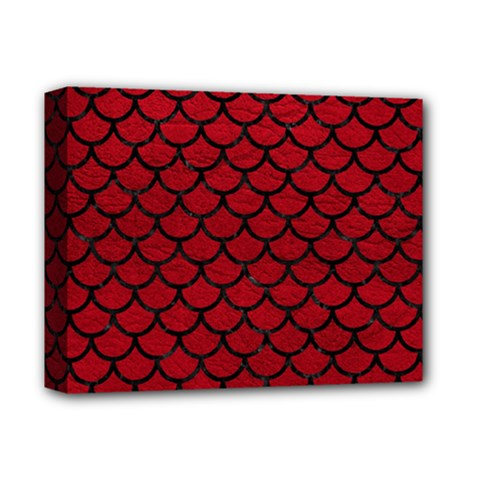 Scales1 Black Marble & Red Leather Deluxe Canvas 14  X 11  by trendistuff