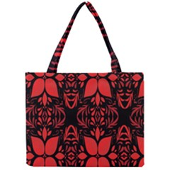 Christmas Red And Black Background Mini Tote Bag by Onesevenart
