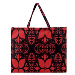 Christmas Red And Black Background Zipper Large Tote Bag by Onesevenart