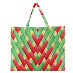 Christmas Geometric 3d Design Zipper Large Tote Bag by Onesevenart