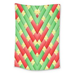 Christmas Geometric 3d Design Large Tapestry by Onesevenart