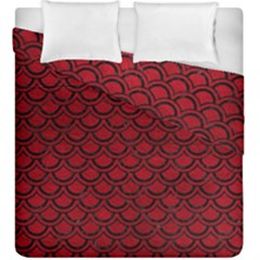 Scales2 Black Marble & Red Leather Duvet Cover Double Side (king Size) by trendistuff