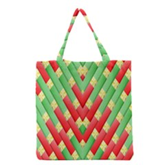 Christmas Geometric 3d Design Grocery Tote Bag by Onesevenart