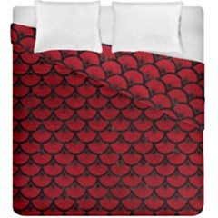Scales3 Black Marble & Red Leather Duvet Cover Double Side (king Size) by trendistuff