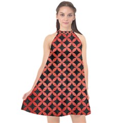 Circles3 Black Marble & Red Brushed Metal (r) Halter Neckline Chiffon Dress