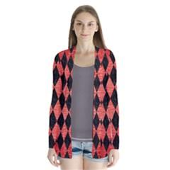 Diamond1 Black Marble & Red Brushed Metal Drape Collar Cardigan by trendistuff