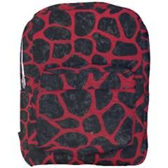 Skin1 Black Marble & Red Leather Full Print Backpack by trendistuff