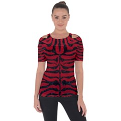 Skin2 Black Marble & Red Leather Short Sleeve Top