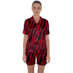 Skin3 Black Marble & Red Leather Satin Short Sleeve Pyjamas Set