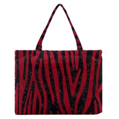 Skin4 Black Marble & Red Leather Zipper Medium Tote Bag by trendistuff
