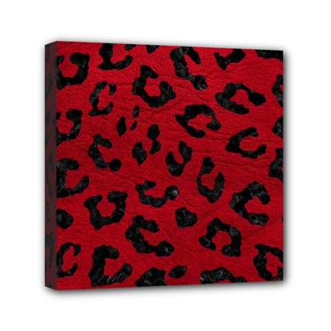 Skin5 Black Marble & Red Leather (r) Mini Canvas 6  X 6  by trendistuff