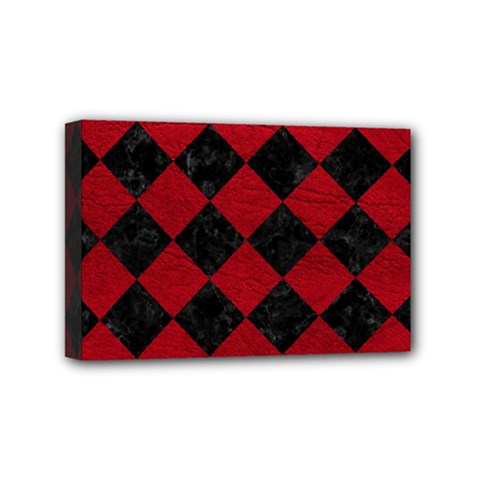 Square2 Black Marble & Red Leather Mini Canvas 6  X 4  by trendistuff