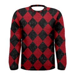 Square2 Black Marble & Red Leather Men s Long Sleeve Tee