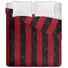 Stripes1 Black Marble & Red Leather Duvet Cover Double Side (california King Size) by trendistuff